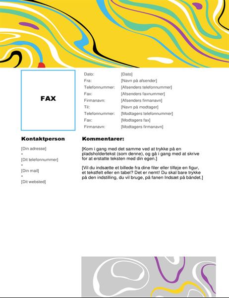 Faxforside med farvehvirvel