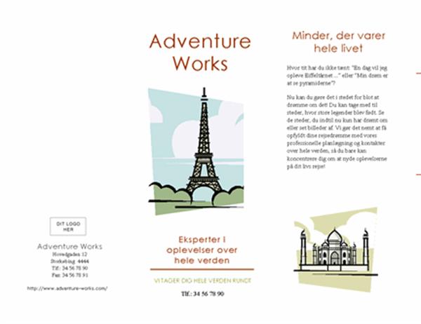 """Rejsebrochure (8 1/2"""" x 14"""", liggende, bukkes 4 gange)"""