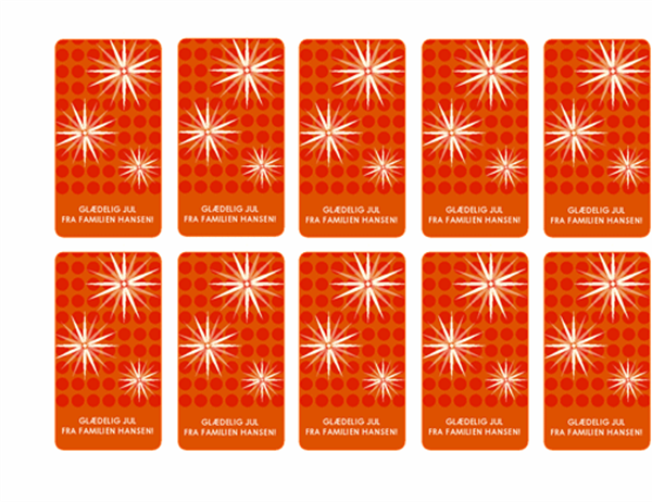 Gavemærker (moderne snefnugdesign, fungerer sammen med Avery 5871, 8871, 8873, 8876 og 8879)