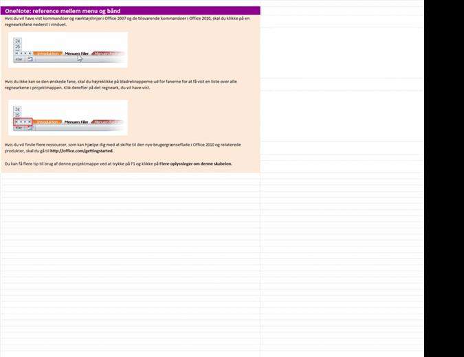 OneNote 2010: projektmappe med referencer fra menuerne til båndet