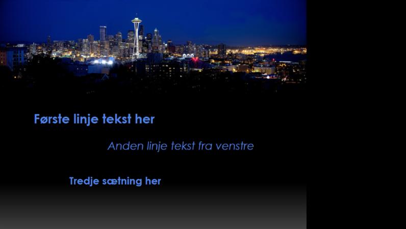 Animerede billedtekster, der bevæger sig og skifter farve over Seattles skyline