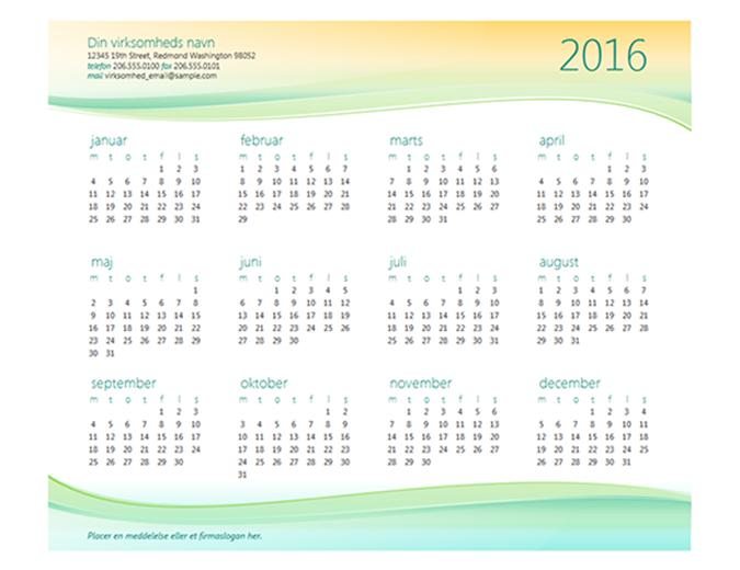 Kalender for små virksomheder (et vilkårligt år)