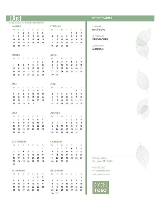Lille virksomhedskalender (alle år, man-søn)