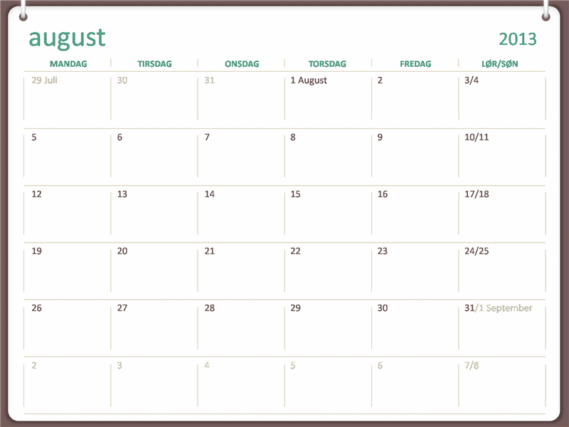 Skolekalender for 2013-2014 (august)
