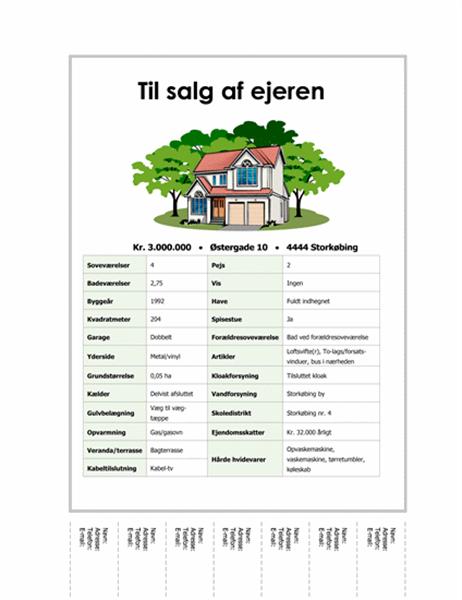 Løbeseddel om hus til salg med lapper, der kan afrives