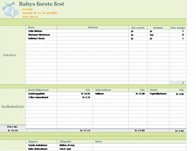 Festplanlægning – ny baby