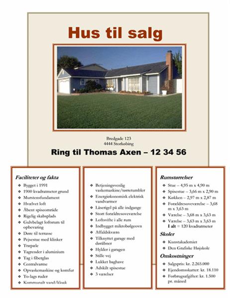 Løbeseddel med hus til salg med foto, kort og plantegning