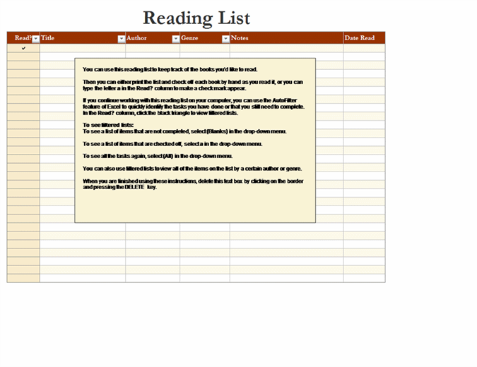 Liste over læsemateriale