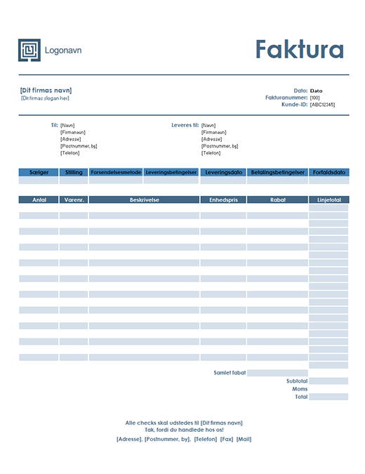 Salgsfaktura (enkelt blåt design)