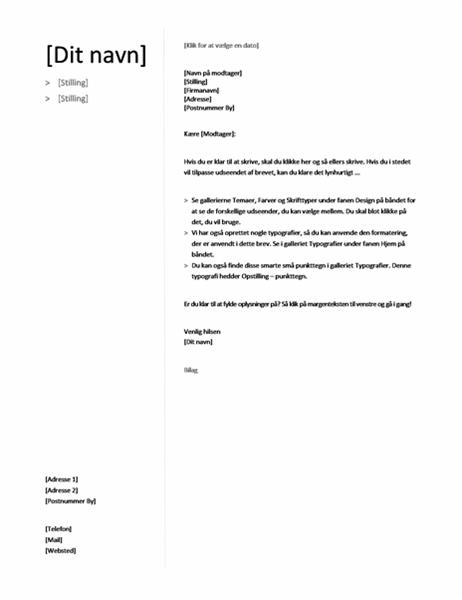 Følgebrev til kronologisk CV (designsættet Enkelt)