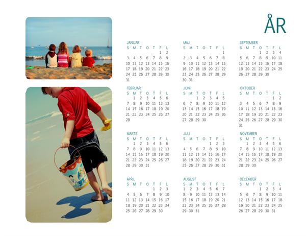 Kalender med familiefoto (et givent år)