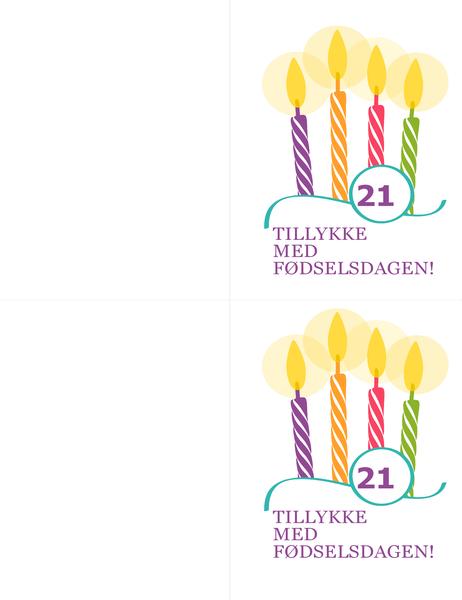 Kort til rund fødselsdag (to pr. side, til Avery 8315)