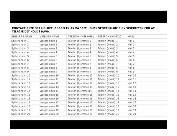 Kontaktliste til sportshold