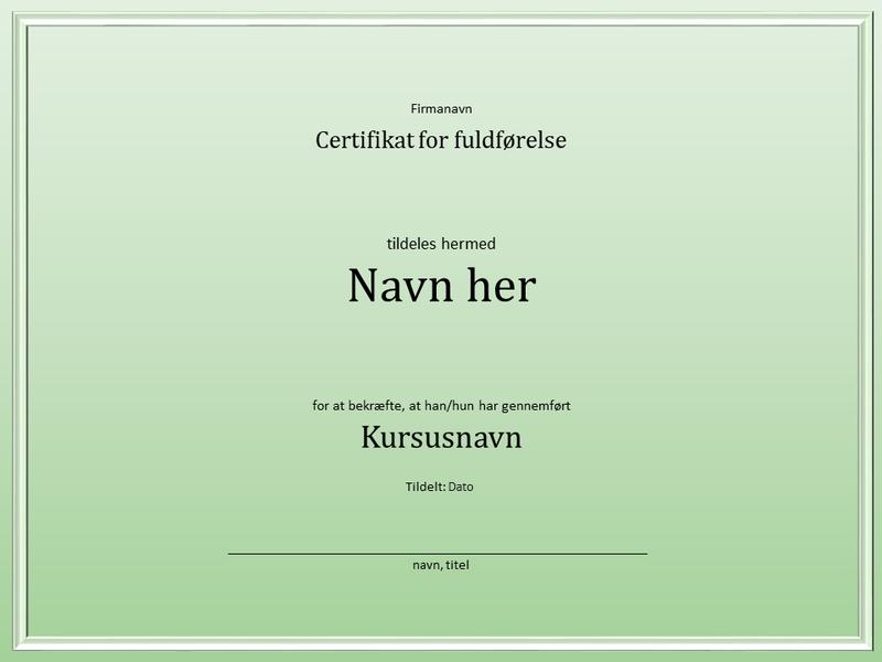 Certifikat for fuldførelse af kursus