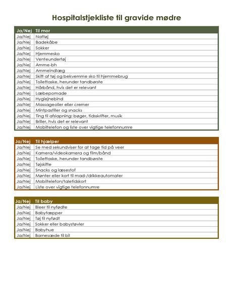 Hospitalstjekliste til gravide mødre