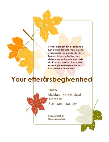 Løbeseddel til efterårsbegivenhed (med blade)