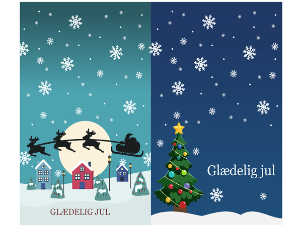 Julenotekort (design med julestemning, to pr. side, til Avery 3268)