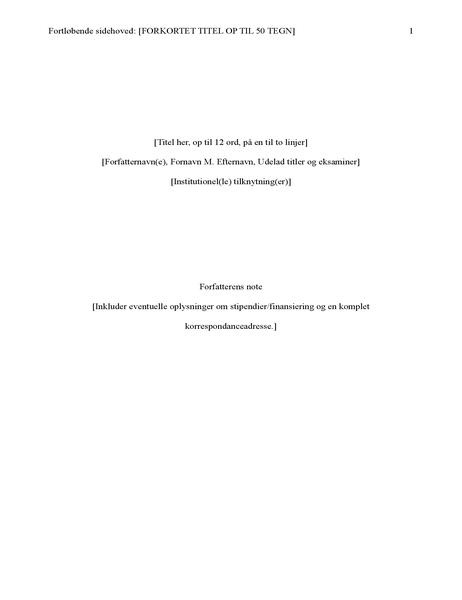 Opgave i APA-stil (6. udgave)