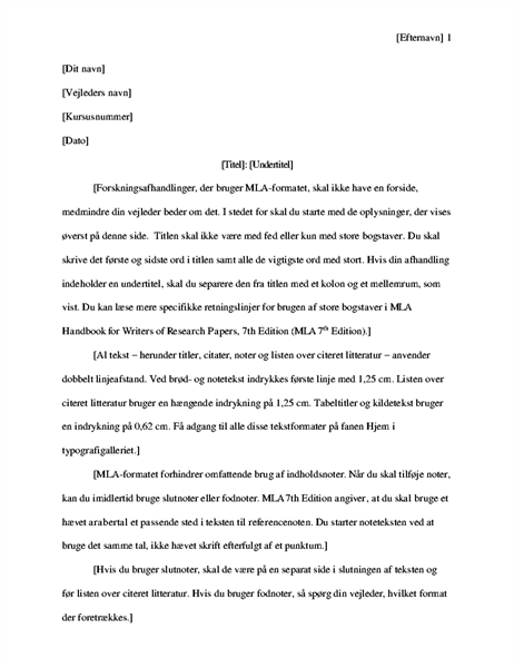 Forskningsrapport med MLA-typografi