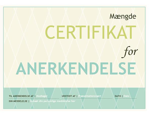 Gavekort til anerkendelse (harlekin-design)