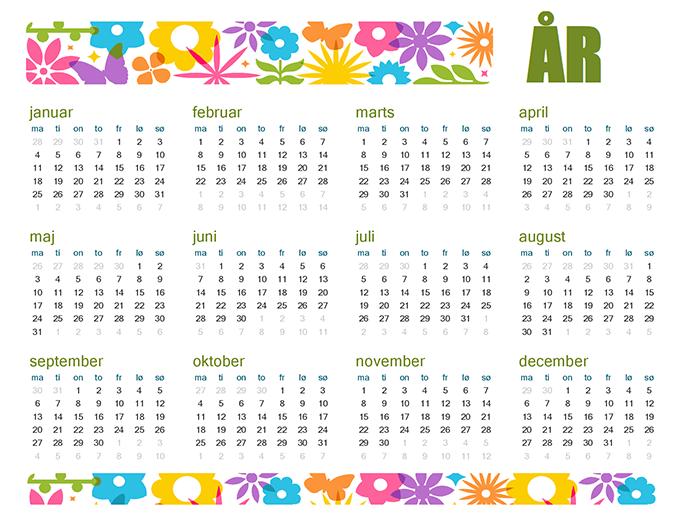 Underholdende kalender for et hvilket som helst år