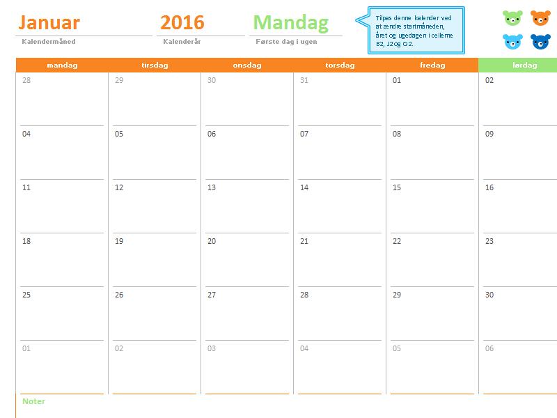 Månedskalender for et hvilket som helst år (12 sider, design med farvede bjørne)