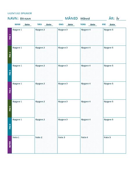 Ark til ugentlig opgaveplan (farve)