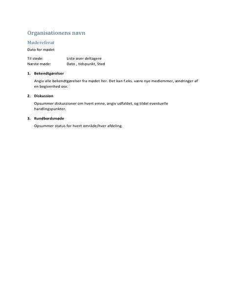 Mødereferat (kort format)