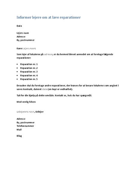 Informer lejere om at lave reparationer (standardbrev)