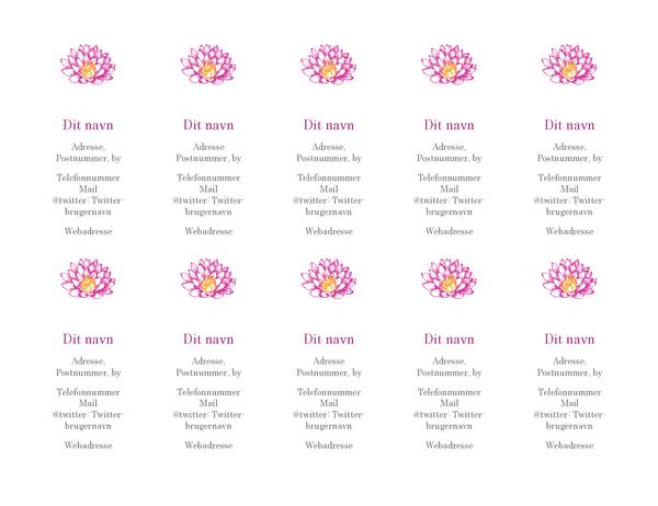 Personlige visitkort med blomstermotiv (lodret)