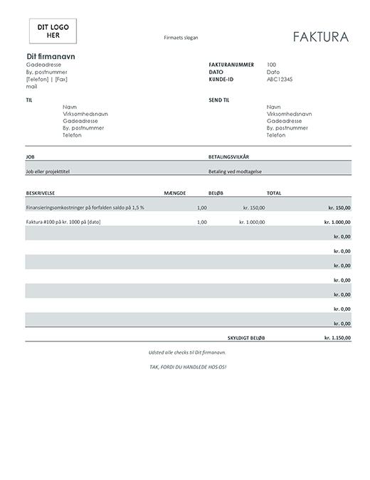 Faktura med finansopkrævning (grå)