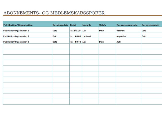 Funktion til sporing af abonnementer og medlemskaber