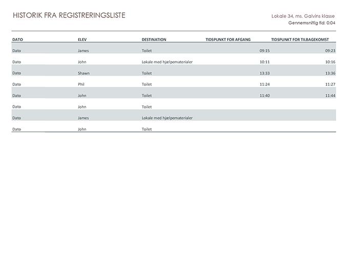 Registreringsliste til udgangstilladelse for elever