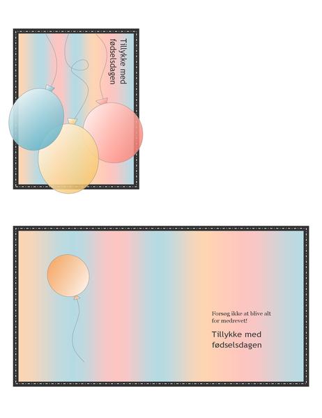Fødselsdagskort (med balloner og striber, kvartfoldet)