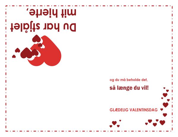 Valentinsdagskort (hjertedesign, dobbeltfoldet)