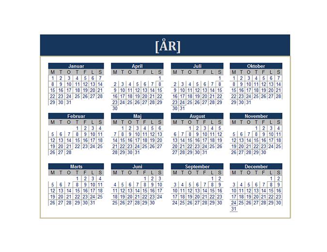 Kalender (hvilket som helst år)