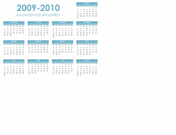 Kalender for skoleåret 2009-2010 (1 side, liggende, man-søn)