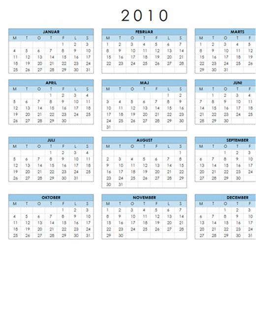Kalender for 2010 (1 side, liggende, man-søn)