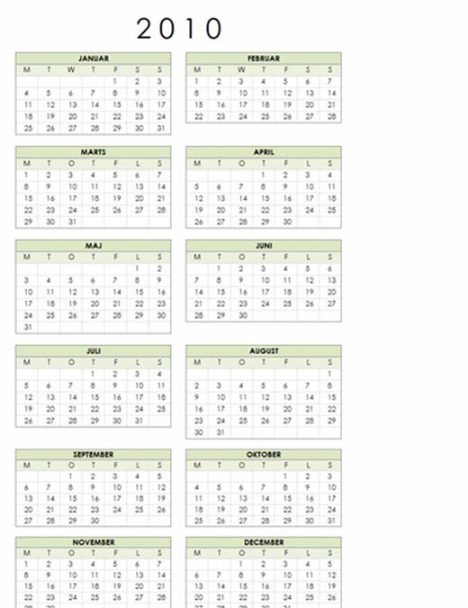 Kalender for 2010 (1 side, stående, man-søn)