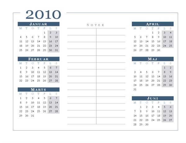 Kalender for 2010 (6 måneder pr. side, man-søn)