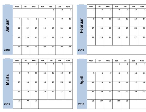 Kalender for 2010 med blå kant (3 sider, man-søn)
