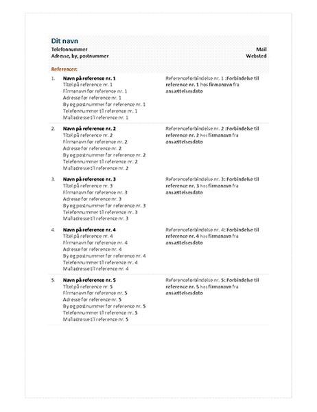 Funktionelt CV-referenceark
