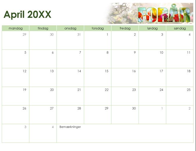 Årstidsbestemt fotokalender