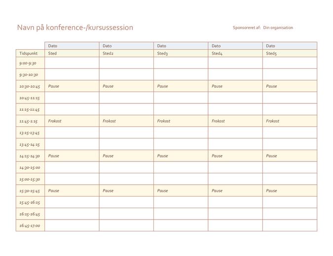 Tidsplan for begivenhed over fem dage