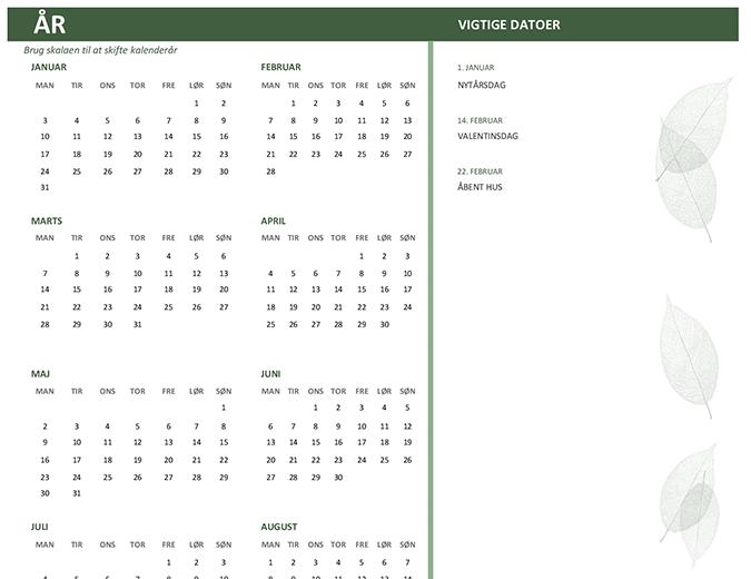 Virksomhedskalender (et vilkårligt år, søn-lør)
