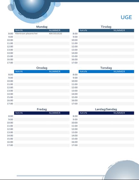 Aftalekalender med blå kugler