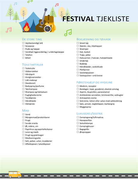 Tjekliste for festival