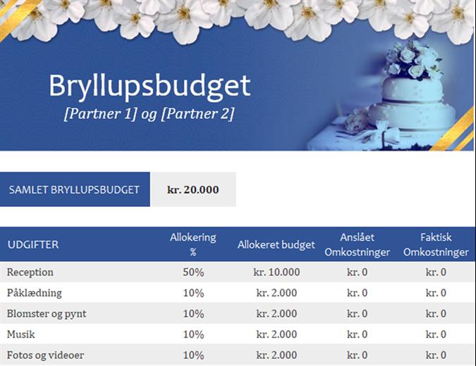 Skabelon til at holde styr på bryllupsbudgettet
