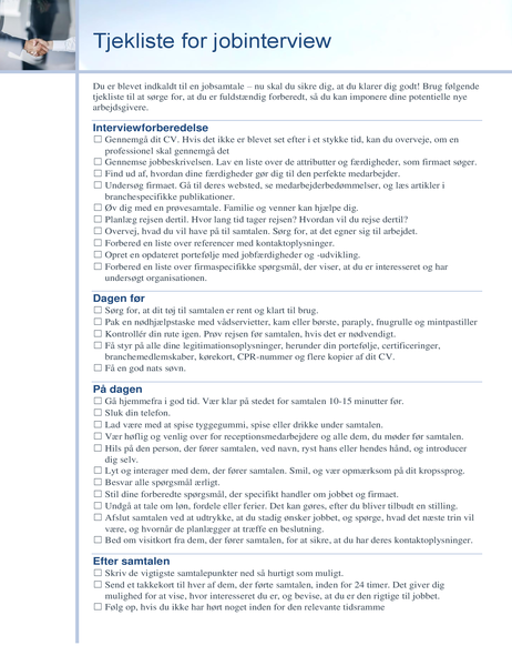 Tjekliste for jobinterview