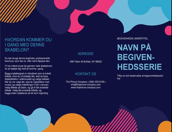 Brochure til begivenheder med farverige figurer